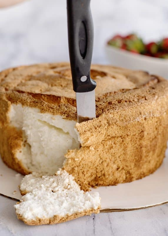 Preparing the Angel Food Cake for Strawberry Punch Bowl Cake