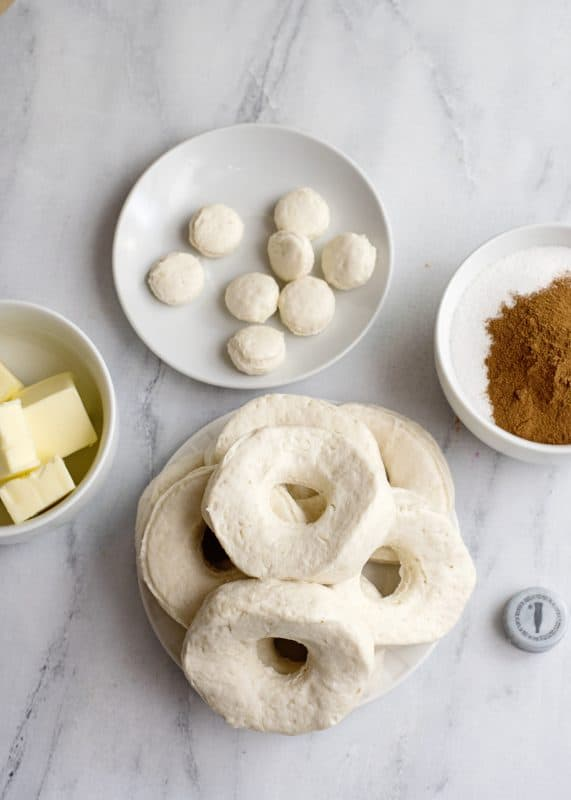 doughnuts prepped for frying