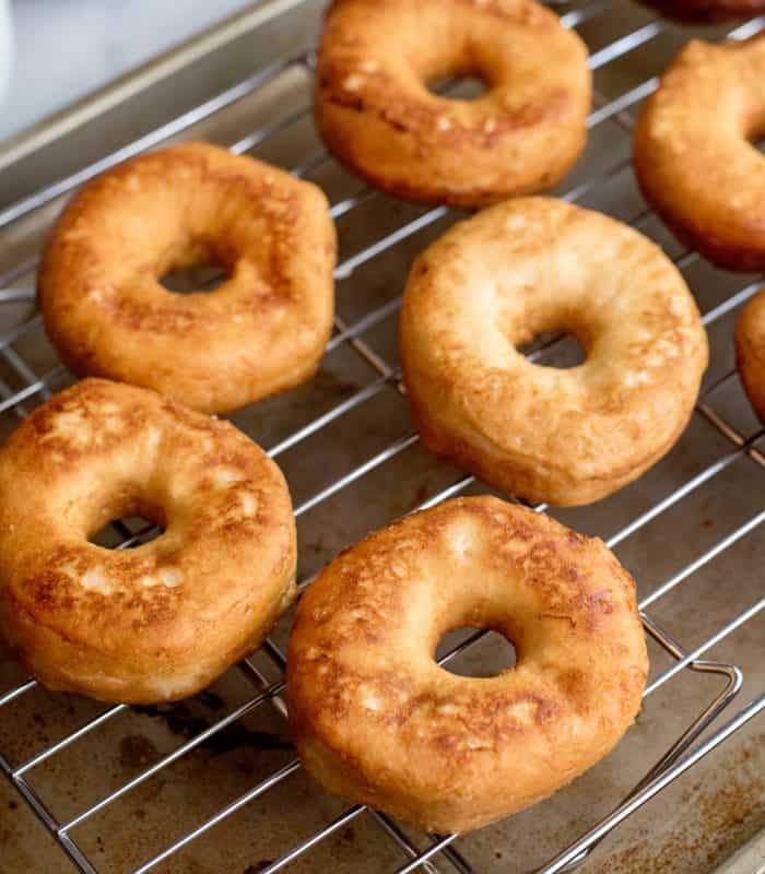 Doughnut cooked and cooling