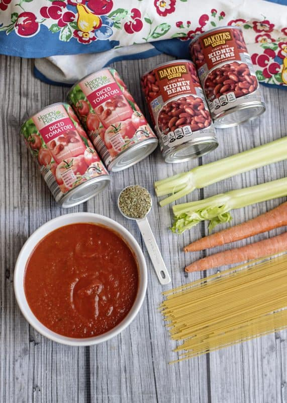 Ingredients for Spaghetti Lover's Soup