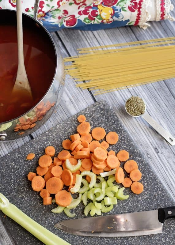 Chopping veggies for Spaghetti Lover's Soup
