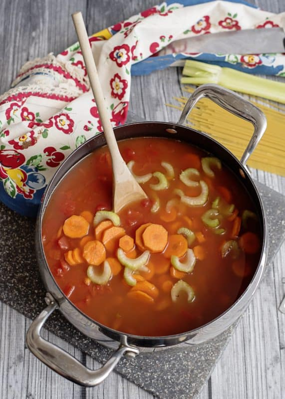 Adding veggies to Spaghetti Lover's Soup