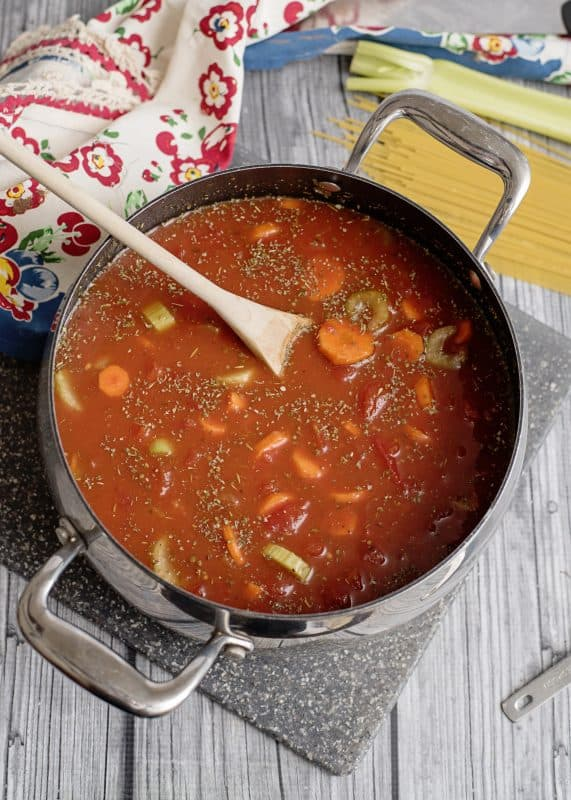Spaghetti Lover's Soup ready to go