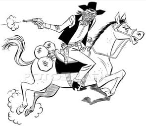 robber on horseback, a drawing