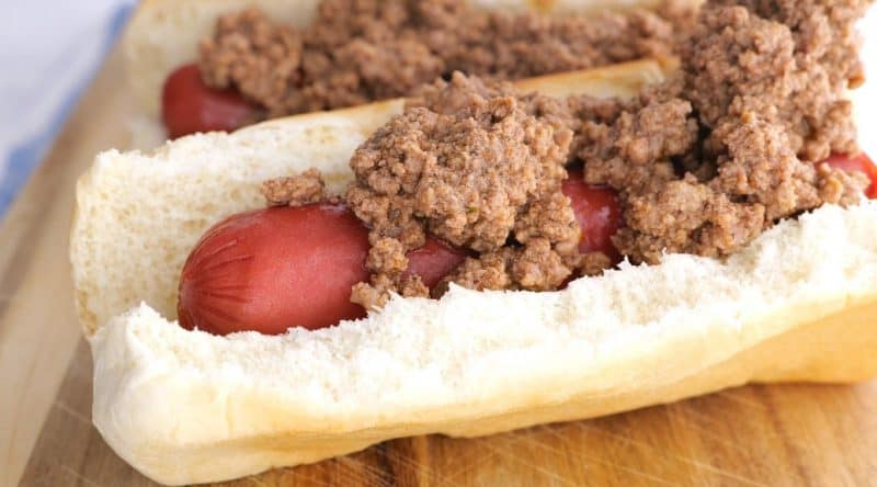 add the chili to the hot dogs