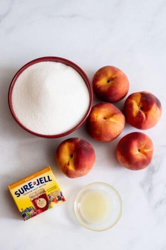 Peach freezer jam ingredients