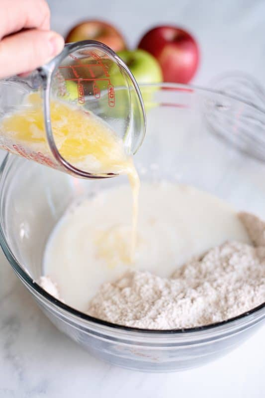 add milk and melted butter to apple fritter dry ingredients
