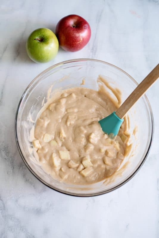 mix up the apples in the batter well