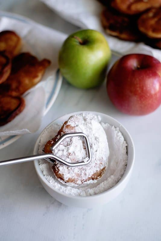 let them dry off on paper towel and then dip into powdered sugar