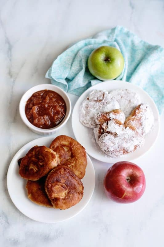 half plain apple fritters and half with sugar
