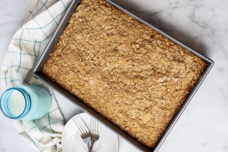 pumpkin crumb cake in pan