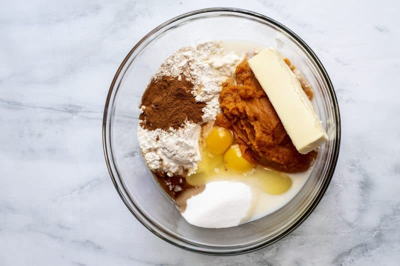 ingredients in bowl pumpkin crumb cake
