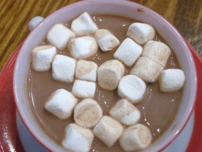 hot cocoa or hot chocolate with marshmallows