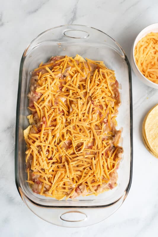 spread half the chicken mixture and cheese over the chips.
