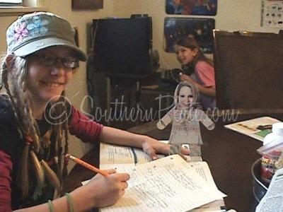 Rowena doing school work