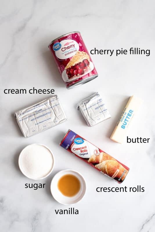 Ingredients crescent rolls, butter, cherry pie filling cream cheese sugar, vanilla