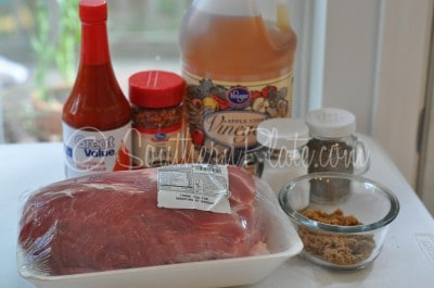 Ingredients for pulled pork recipe