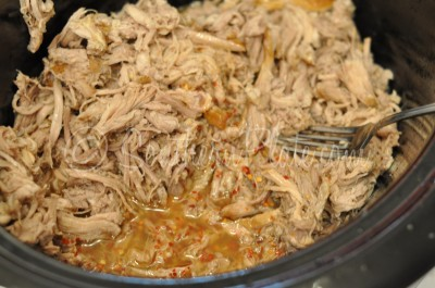 Pulled pork in a slow cooker