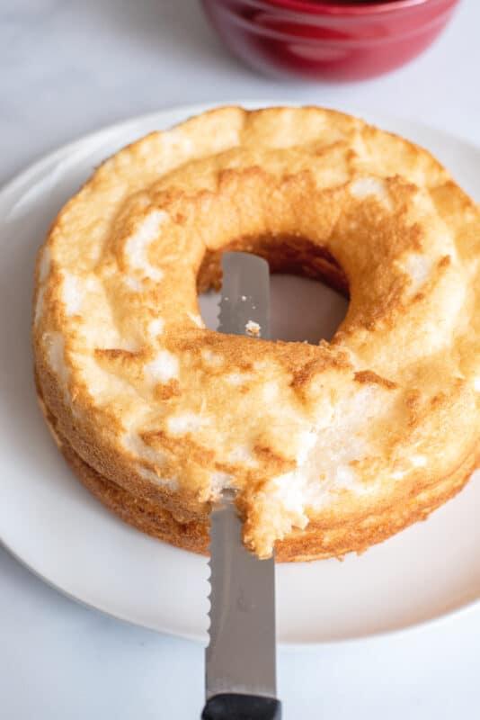 angel food cake cut the brown off