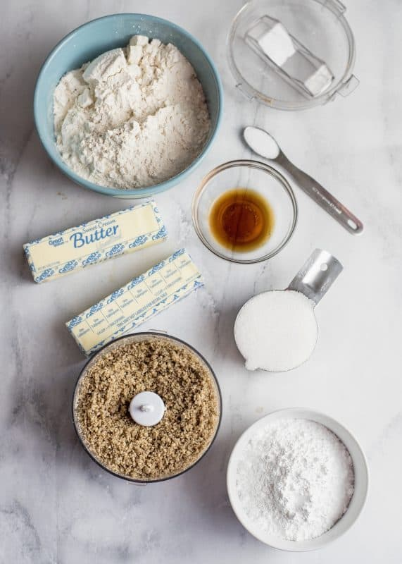 ingredients for Snowball cookies