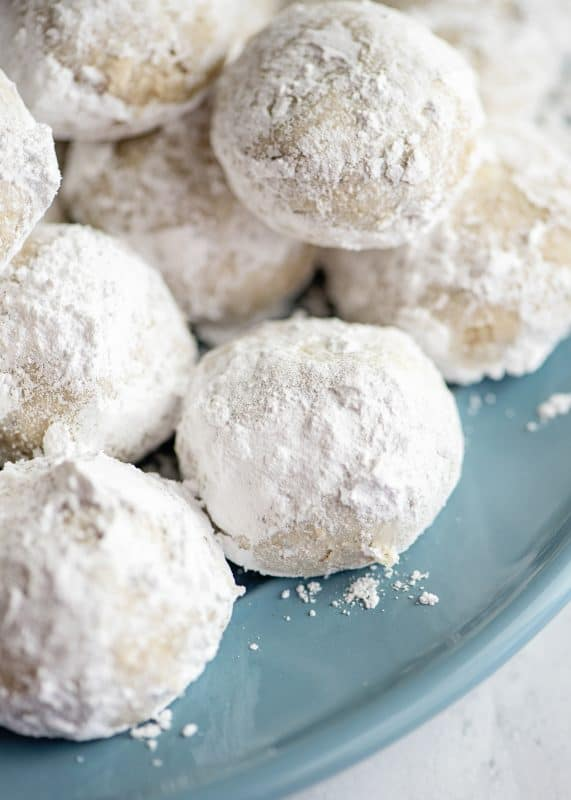 Snowball Cookies on blue plate