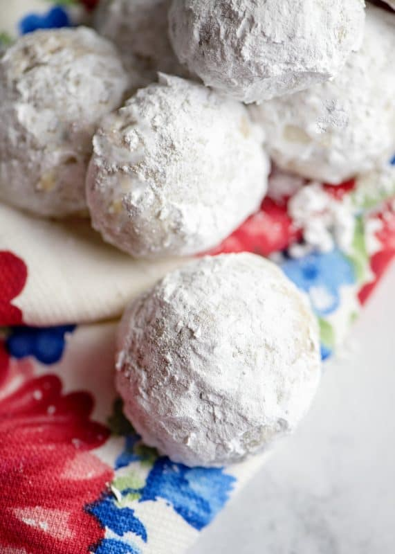 closeup of Snowball Cookies