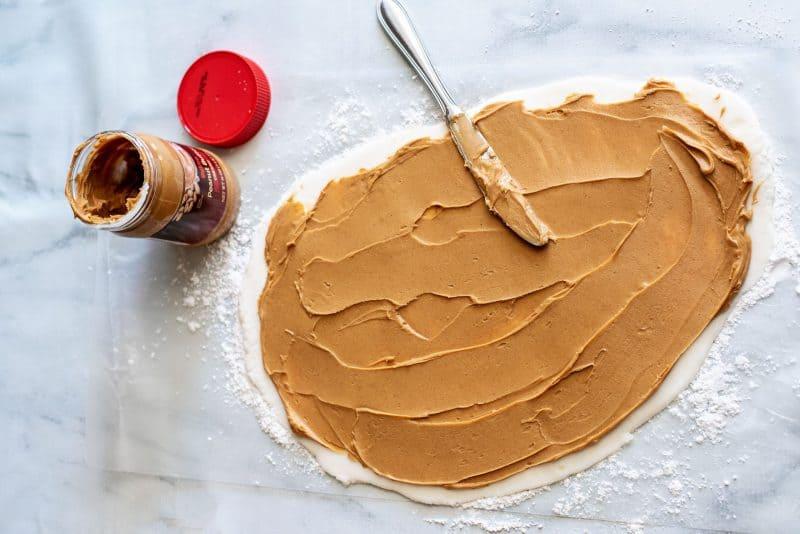 spread peanut butter on potato dough