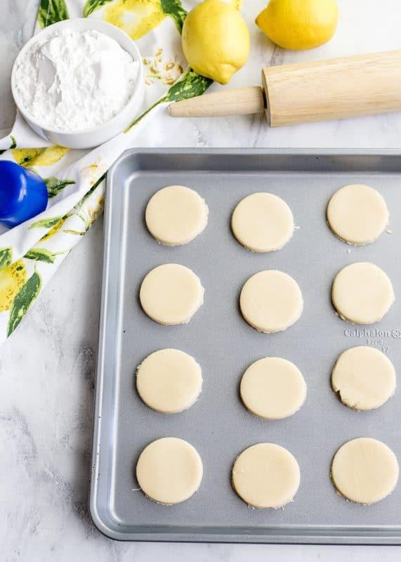 lemon blossom cookies on pan for baking