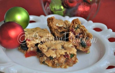 Fruitcake Bar Cookies - Dried fruit layered with cinnamon, brown sugar, and just enough flour and butter to hold it all together until it reaches your mouth!