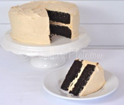 Cappuccino Cake - Dark chocolate cake with whipped cappuccino buttercream frosting. Truly one of the best cakes I've ever had!  THIS cake is THE showstopper!