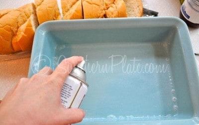 Spray pan with non stick spray