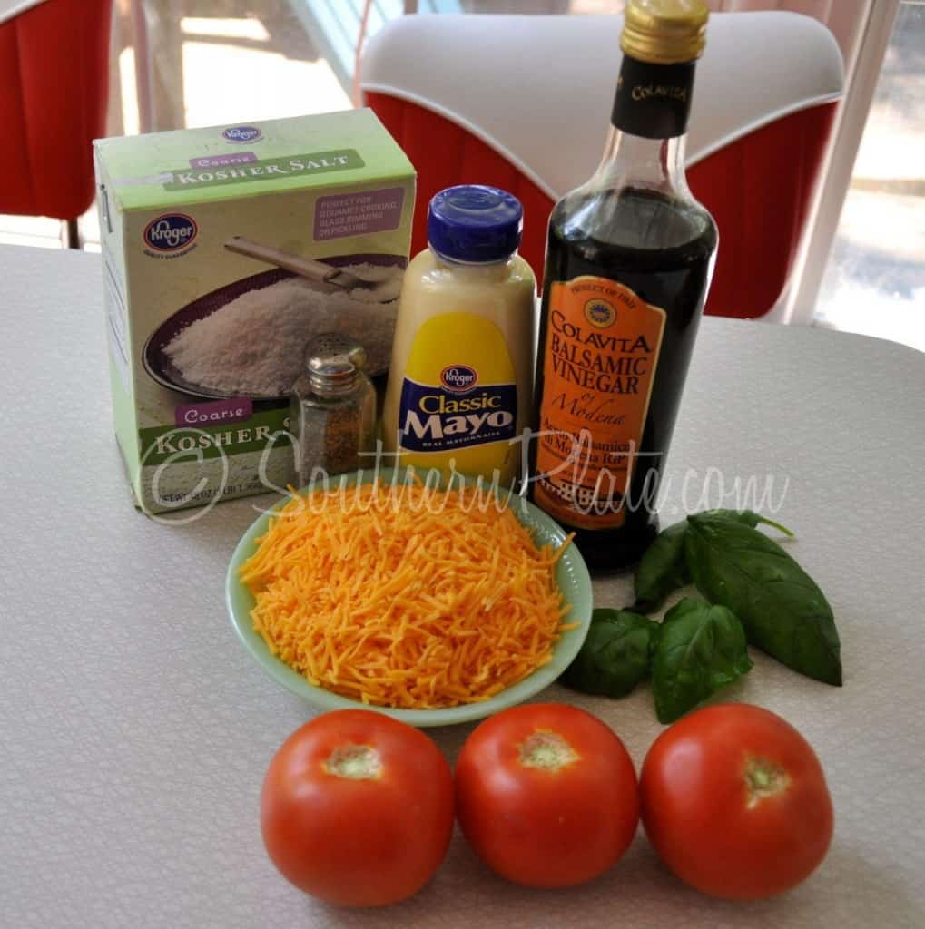Ingredients for tomato pie recipe.