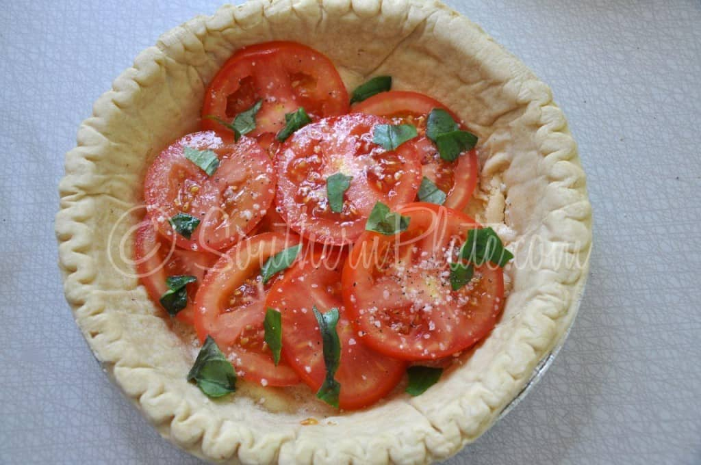 Tomato and basil in pie.