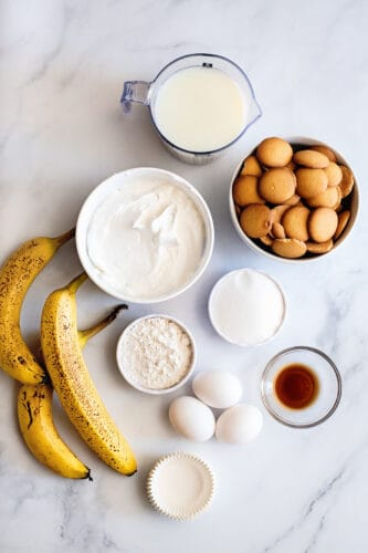 Recipe ingredients for frozen banana pudding cups