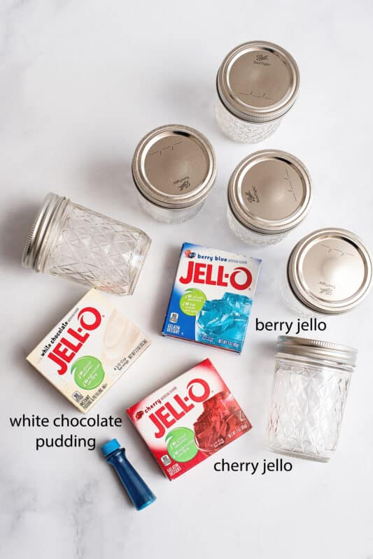 ingredients red and blue Jello plus white chocolate pudding mix