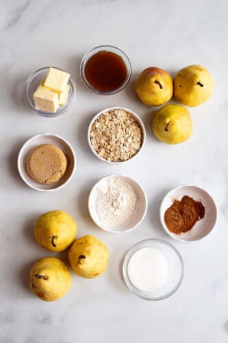 All ingredients for recipe for pear crisp.