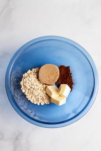 Crisp topping ingredients in mixing bowl.