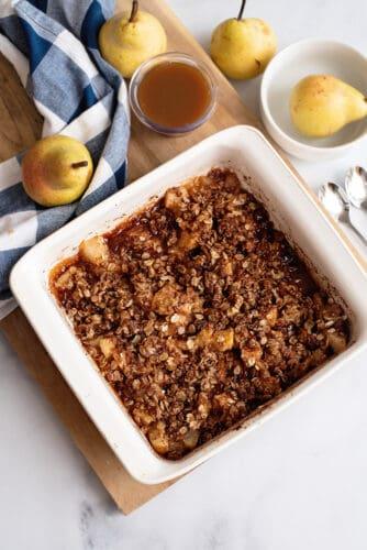 Pear crisp in baking dish