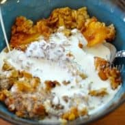 Baked Peach Oatmeal Pudding – and Trading up for Contentment