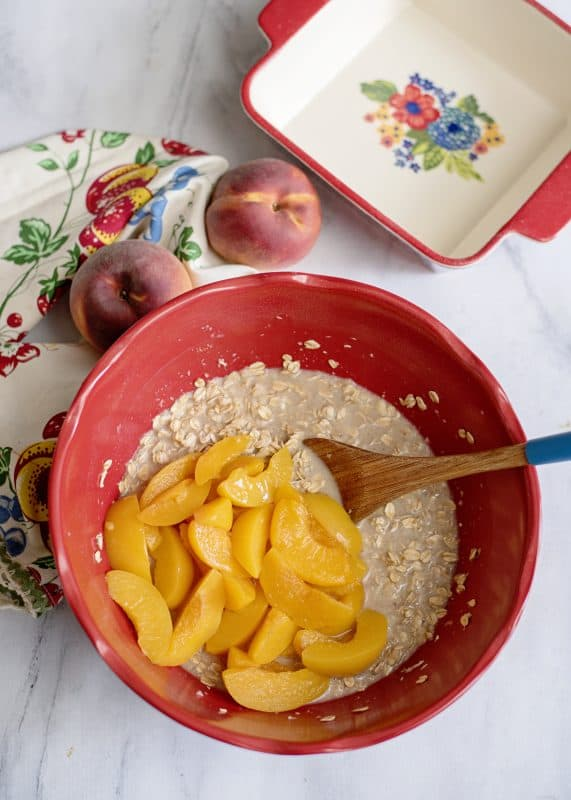 Mixing Peach Oatmeal Pudding