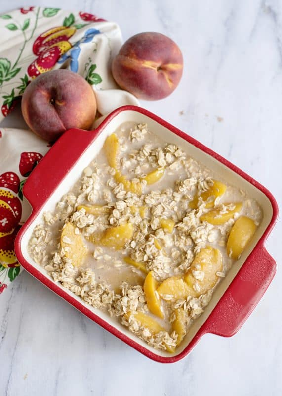 Baked Peach Oatmeal Pudding ready for the oven