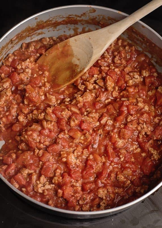 Making Skillet Lasagna