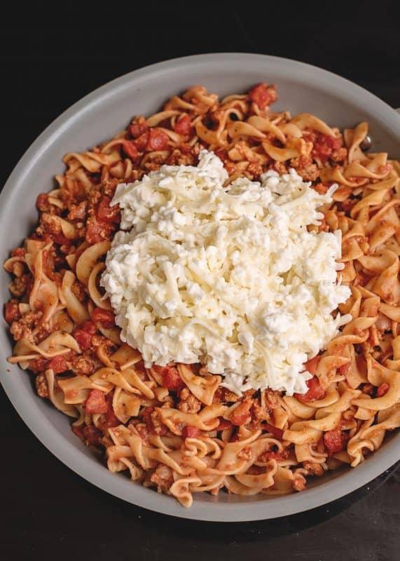 mixing Skillet Lasagne