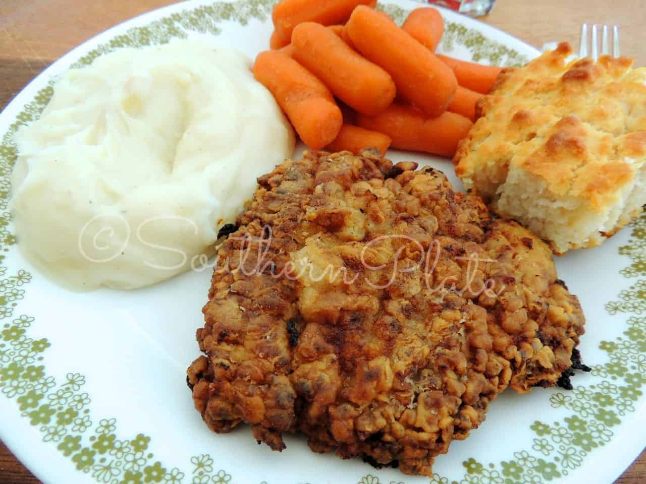 Place Chicken Fried Steak on a plate with some friends!