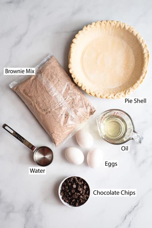 brownie pie ingredients pie shell, brownie mix, oil, eggs, water, chocolate chips