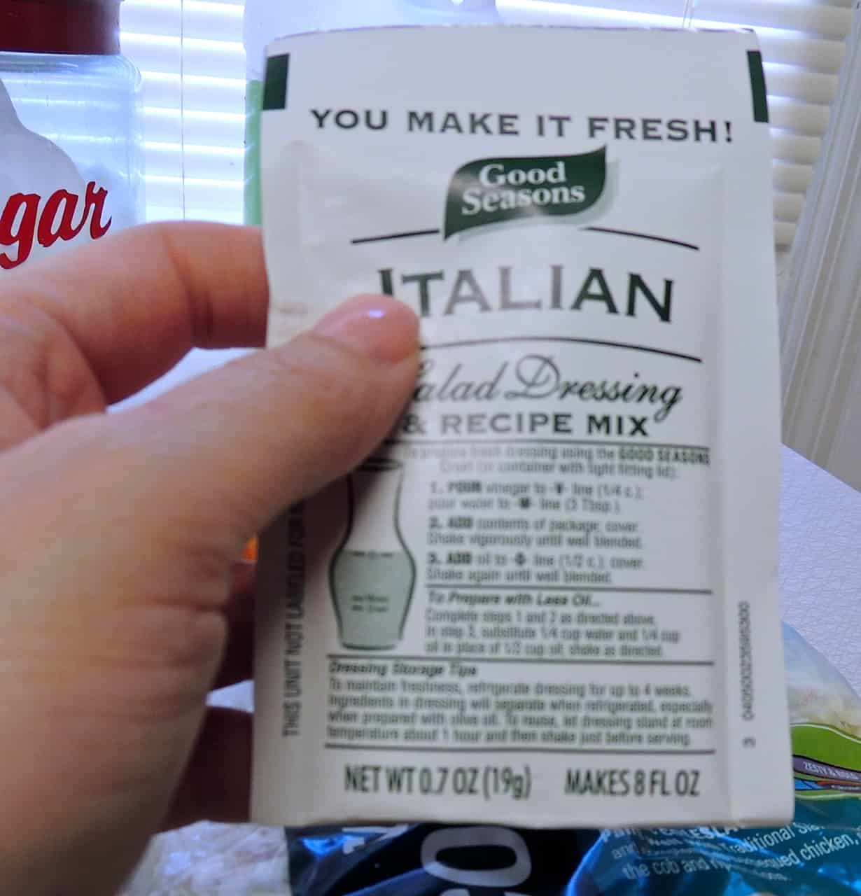 Just grab whatever brand Italian dressing mix you see first or is ...
