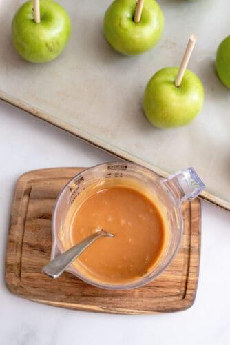Making caramel for apples.