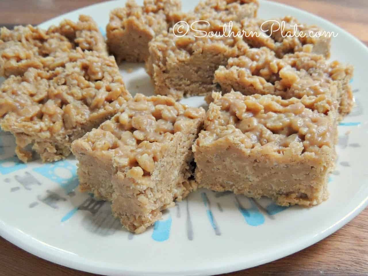 Fudgey Peanut Butter Rice Crispy Bars | Southern Plate