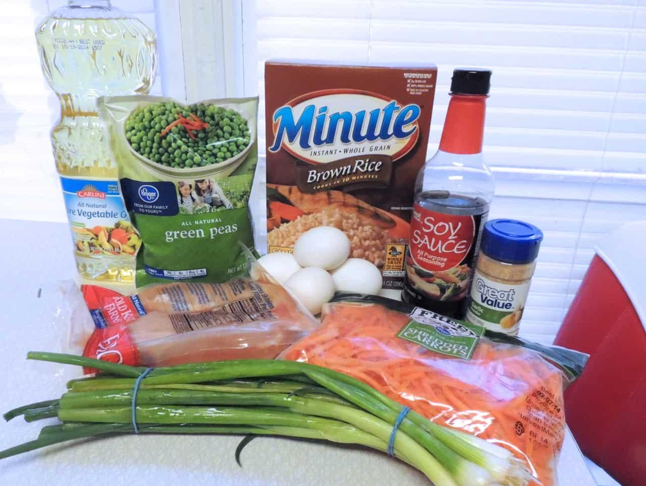 ... Brown Rice, Soy Sauce, Garlic Salt, Eggs, Matchstick Carrots, Chicken