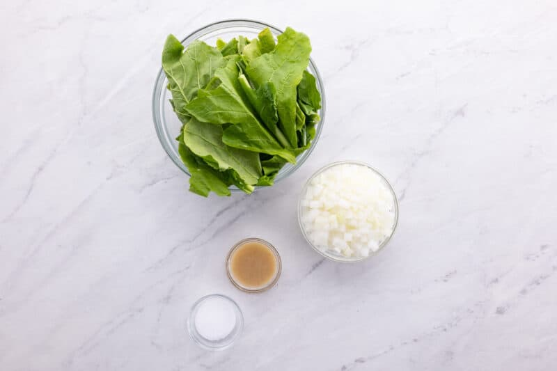 Ingredients for Southern turnip greens.